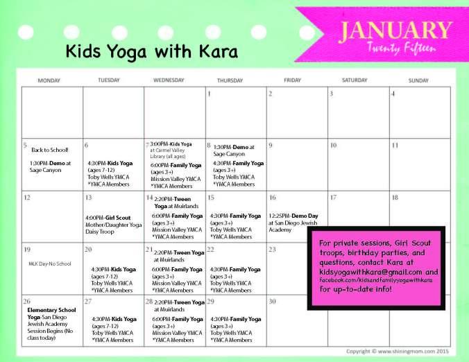 January 2015 Kids  Yoga Calendar